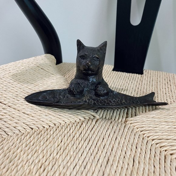 Vintage Cast Cat And Fish Decorative Tray